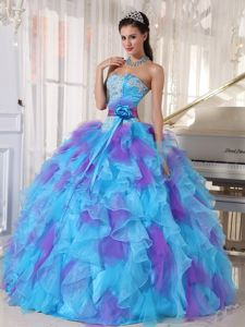 Blue and Purple Quinceanera Dress Appliques Strapless Full Skirt