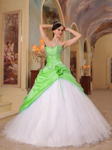 Spring Green and White Sweetheart Quince Dress with Beading and Flowers