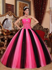 Hot Pink and Black Sweet Sixteen Quinceanera Dresses by Taffeta and Tulle