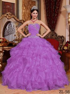 Light Purple Sweetheart Organza Dress for Quince with Beading Waist