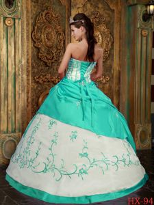 Mint Quinceanera Dresses Gowns with Embroidery and Lace up Back