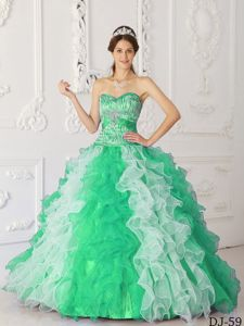 Attractive Multi-Color Sweetheart Ruffled Beading Sweet 15 Dresses for Quinceanera