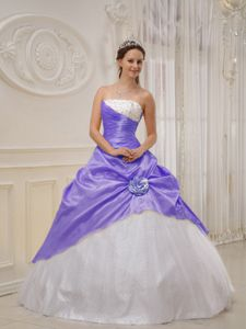 Recent Lilac and White Strapless Quinces Dresses in Taffeta and Tulle