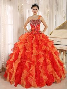 Orange Red One Shoulder Beaded Quince Dress with Ruffle Hot Sale