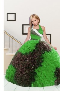 Wonderful Apple Green and Chocolate Lace Up Halter Top Beading and Ruffles Little Girl Pageant Gowns Fabric With Rolling Flowers Sleeveless