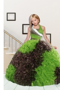 Ball Gowns Pageant Gowns For Girls Apple Green and Chocolate Halter Top Fabric With Rolling Flowers Sleeveless Floor Length Lace Up