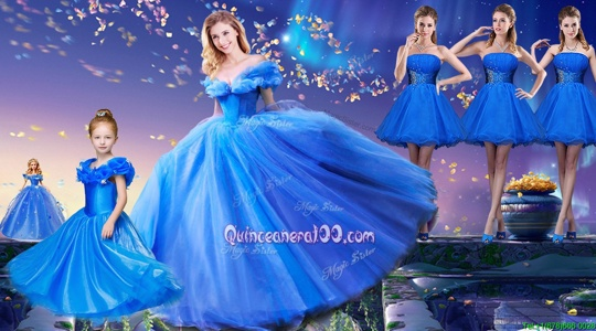 Spectacular Off the Shoulder Short Sleeves Tulle Floor Length Lace Up Ball Gown Prom Dress inRoyal Blue forSpring and Summer and Fall and Winter withAppliques and Bowknot